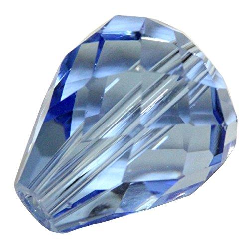 24 12x10mm Adabele Austrian Teardrop Crystal Beads Light Sapphire Teardrop Beads Compatible with 5500 Swarovski Crystal Preciosa SST-1214 ()