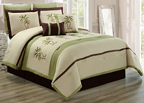 Palm Tree Quilt Sets: Sage Green Beige Palm Tree Tropical Comforter Set