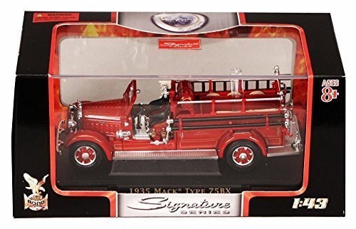 1935 Mack Type 75BX Fire Engine Hanover, Red - Yatming 43001 - 1/43 Scale Diecast Model Toy Car (Fire Signature Engine)