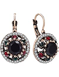Vintage Gold Clip On Earrings for Women Black Red Crystal