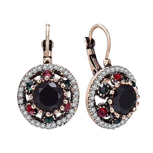 Miraculous Garden Vintage Gold Clip On Earrings for Women Black Red Crystal (Black) (Black Red Crystal)