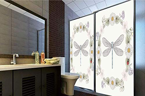 (Horrisophie dodo 3D Privacy Window Film No Glue,Dragonfly,Vintage Retro Farm Life Inspired Moth with Daisies Lilies Leaves Image,Lilac Green,70.86