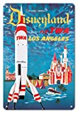 Pacifica Island Art 8in x 12in Vintage Metal Tin Sign - Disneyland - Los Angeles - Fly TWA (Trans World Airlines) - Tomorrowland TWA Moonliner by David Klein