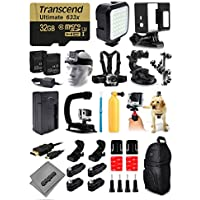 Opteka X-Grip Stabilizer + 32GB Card + LED Light + Skeleton Housing + Head Strap + Chest Strap + Backpack + Bobber + Car Suction Cup + Adhesive Mounts + More For GoPro Hero4 Cameras