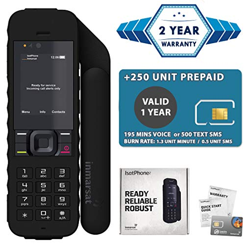 2019 Unlocked IsatPhone 2.1 Satellite Phone with 200 Minutes Prepaid SIM Card Valid 6 Months - Voice, SMS, GPS Tracking, Emergency SOS Global Coverage - Water Resistant