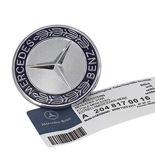 Guzetop Flat Hood Emblem for Mercedes Benz C E SL Class Ornament Logo 57MM - Ornament Class