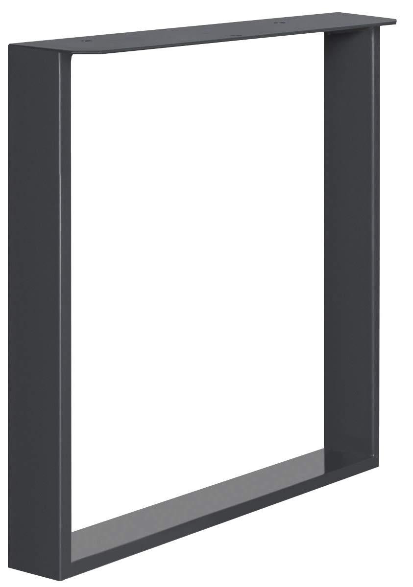 HOLZBRINK 1x Gamba per Tavolo con Profilo In Acciaio 100x20 mm e Piatto 3 mm HLT-02-A-FF-7016 Cornice 80x72 cm Grigio Antracite