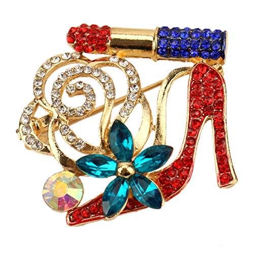 (JETEHO High Heel and Lip Stick Crystal Brooch for Women's Fashion Rhinestone Brooch Pin)