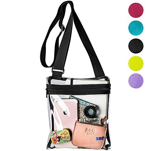Adjustable Clear Messenger Bag, PGA, NCAA & NFL Clear Purse Stadium Approved, Transparent See Through Shoulder Handbag for Events (Black) (Plastic And Purses Handbags)