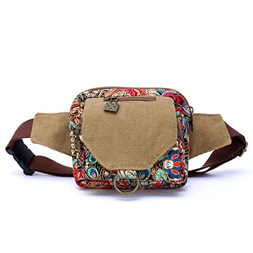 Dopobo Women Retro Vintage Fanny Pack Waist Bag Phoenix Printed Canvas Girls Festival - Pack Festival