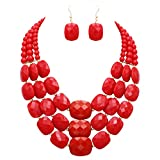 Rosemarie Collections Women's Red Rectangle Bead Triple Strand Statement Necklace and Earrings Set