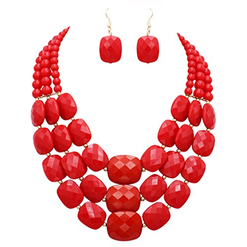 Bead Triple Strand Necklace - Rosemarie Collections Women's Red Rectangle Bead Triple Strand Statement Necklace and Earrings Set