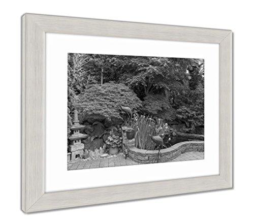 Ashley Framed Prints Home Garden Backyard with Lush Plants Japanese Landscaping Pond Stone Pagoda, Wall Art Home Decoration, Black/White, 26x30 (Frame Size), Silver Frame, AG6503752 ()
