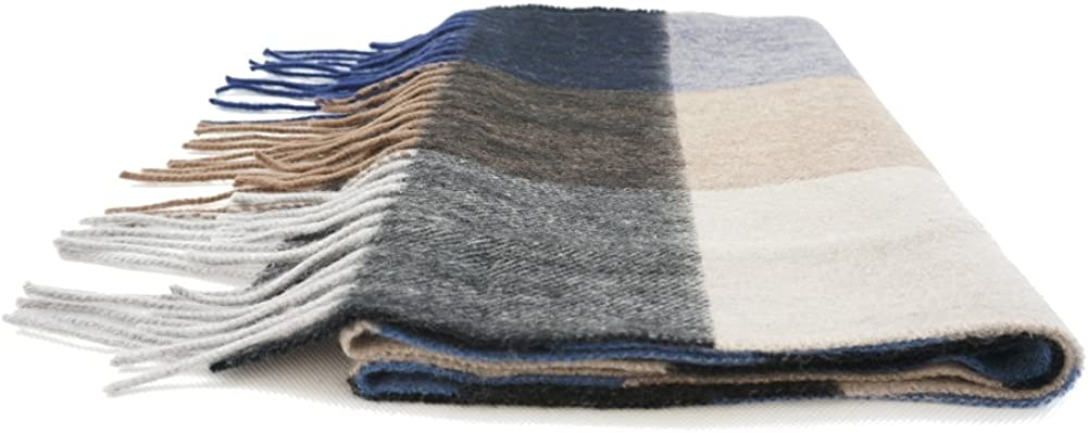 ONEWORLD Mens New Style High Quality Fashion Multi Colored Checks Scarf Real Cashmere Pashm Winter Wrap