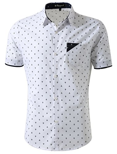 uxcell Men Point Collar Button Down Short Sleeve Anchor Pattern Slim Fit Shirt White S (US 36) (Anchor Patterns)