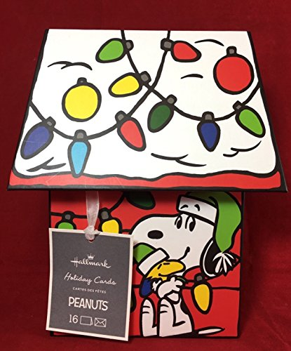 Hallmark Peanuts Christmas House Boxed Glitter Cards w Snoopy -