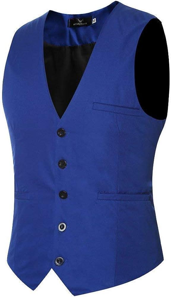Herren Anzugweste Slim Fit Freizeit Business Casual Weste Einfarbig Festlich Jacke Anzug Herrenmode M/änner Waistcoat 5 Knopf