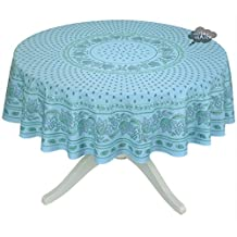 """68"""" Round Lisa Turquoise Cotton Coated Provence Tablecloth by Le Cluny"""
