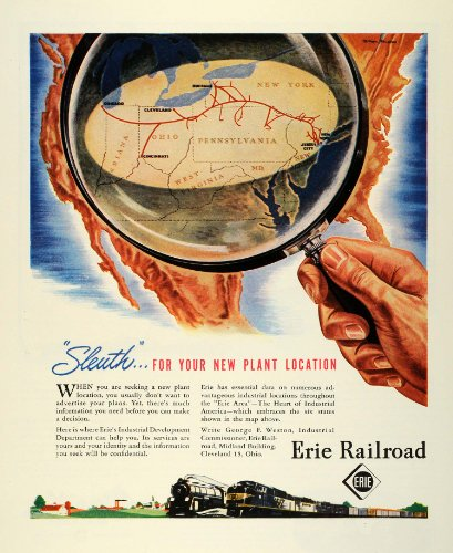 1945-ad-george-f-weston-erie-railroad-train-route-wwii-war-plant-production-original-print-ad