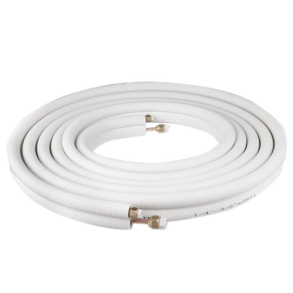 Wostore 25 Ft. Copper Pipes 1/4'' & 3/8'' with Nuts for Mini Split Air Conditioner Insulated Coil Line Set HVAC Refrigerant White by Wostore
