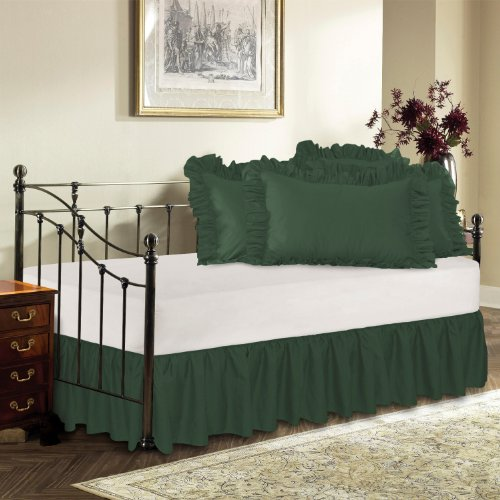Harmony Lane Day Bed Ruffled Bed Skirt, Hunter, 18'' Drop Bedskirt ( Available in 16 Colors) (Hunter Ruffled Bedskirt)