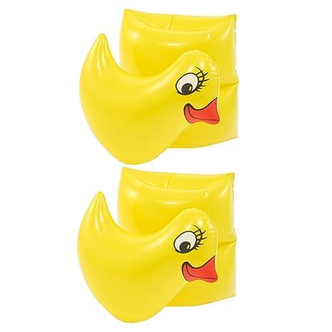 2 PC Pato amarillo en forma de flotador de la piscina inflable armas Band