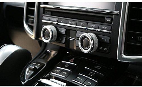 Silver Centre Console Sound Volume Knob Cover 2pcs For Porsche Cayenne 2011-2016