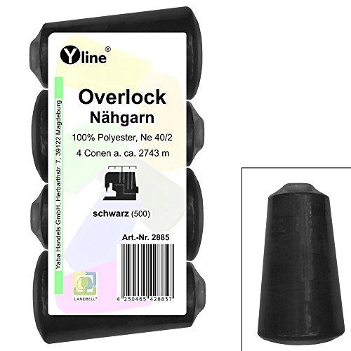 4 Stück Spulen Overlock - Nähgarn, schwarz, a. 2743 m, NE 40/2, 100% Polyester, Nähfaden, Nähmaschinen Garn, 2885