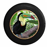 Full Color Keel Billed Toucan Bright Beak Jeep RV Camper Spare Tire Cover Black 30 in