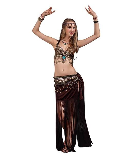 SunWanyi Profesionales Danza del Vientre Traje de Baile de La India Conjunto de Belly Dance Traje de Danza para Mujeres(Descripción de la Referencia)