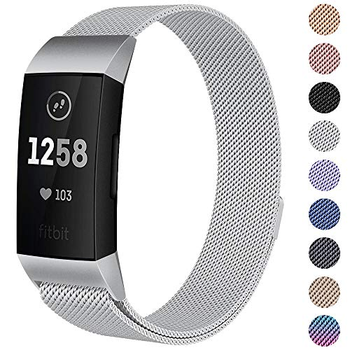 CAVN Compatible Fitbit Charge 3 / Charge 3 SE Bands Women Men Small Large, Metal Milanese Loop Stainless Steel Replacement Accessory Straps Bracelet Compatible Fitbit Charge 3 Fitness Tracker