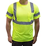 NY Hi-Viz Workwear 9082 Class 3 High Vis Reflective Short Sleeve ANSI Safety Shirt (Extra Large, Lime)