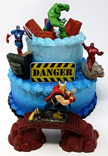 AVENGERS Deluxe Super Hero Birthday Cake Topper Set Featuring Avenger Figures and Decorative Themed Accessories -