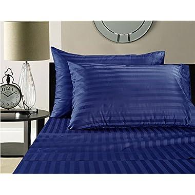 500 Thread Count Damask Stripe 100% Egyptian Cotton Sheet Set (King, Nautical Blue)