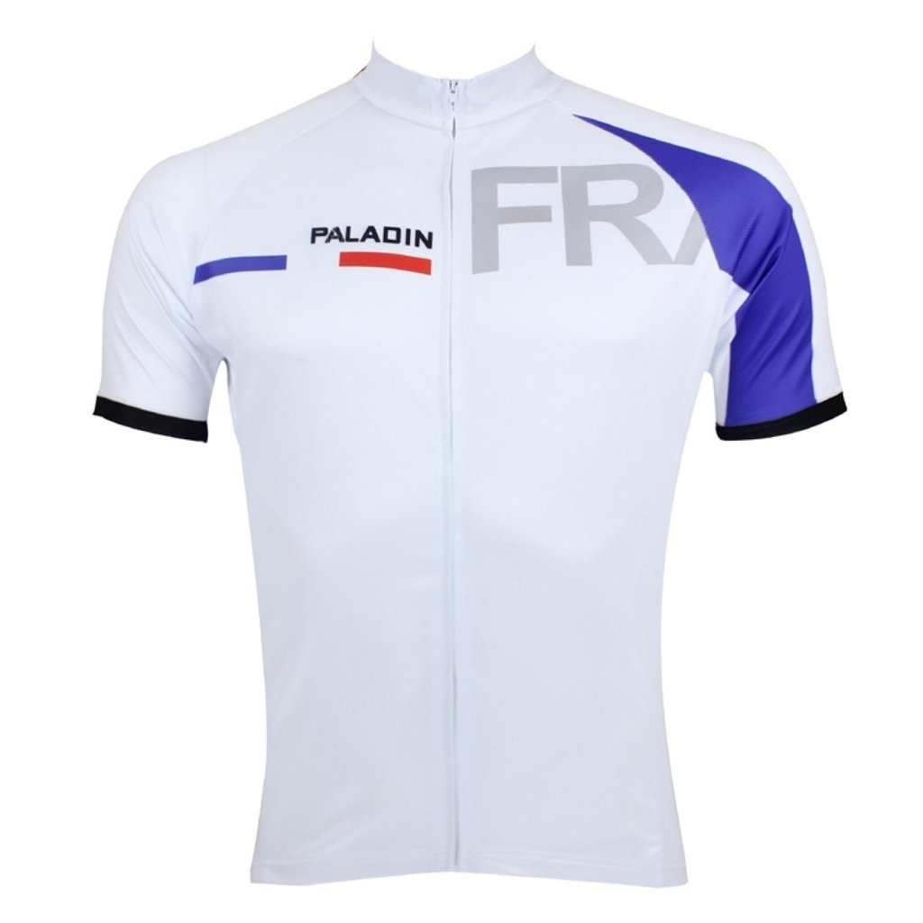 PaladinSport Flag Pattern Men's White Short Sleeve Cycling Apparel