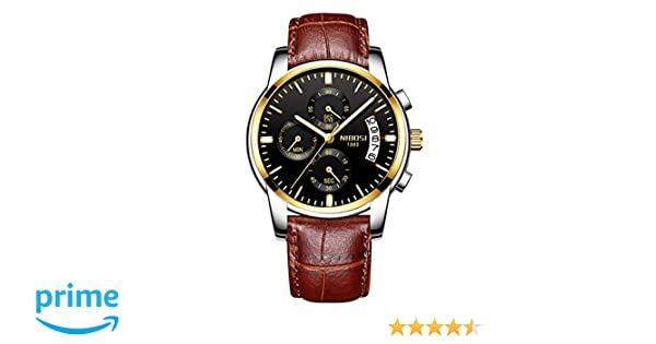 Amazon.com: NIBOSI Mens Chronograph Quartz Watch with Leather Steel Strap 2353 Brown Black: Watches