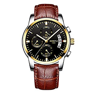 NIBOSI Men's Chronograph Quartz Watches Waterproof with Date Black Dial 2353