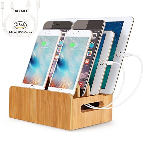 Real Bamboo Docking Station Organizer for Multiple Devices, HecoPro Desktop Charging Stations for Apple/Android Phone/iPad Include 2 Micro USB Cables - 4 Port by HECOPRO