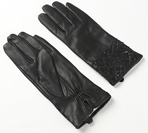 Ambesi Women's Fleece Lined Nappa Leather Winter Warm Gloves Black L