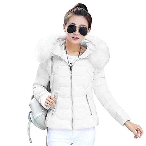 Cotton Down Jacket Short Coat Women Solid Slim Thick Large Fur Collar Hooded Winter Warm Parkas Overcoat Zipper Padded Tops Outwear Minzhi
