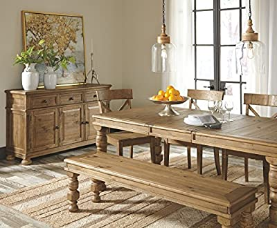 Ashley Furniture Signature Design - Trishley Dining Room Bench - Farmhouse Inspired Vintage Casual Design - Light Brown