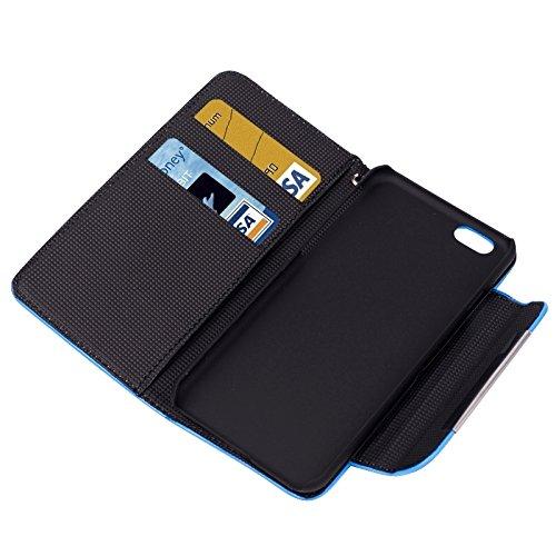 Phone case & Hülle Für iPhone 6 Plus / 6S Plus, matt Horizontale Flip Leder Tasche mit Kartenschlitze & Halter & Lanyard ( Size : Blue )