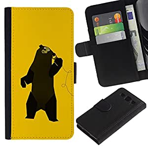 Ihec-Tech / Flip PU Cuero Cover Case para Samsung Galaxy S3 III I9300 - Funny Music Bear Dancing