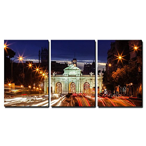 wall26 - 3 Piece Canvas Wall Art - Monument in the Plaza De La Independencia Independence Square in Madrid, Spain - Modern Home Decor Stretched and Framed Ready to Hang - 16''x24''x3 Panels by wall26
