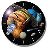 SOLAR SYSTEM pattern wall CLOCK - celestial outer space home decor - size comparison - astronomy planet