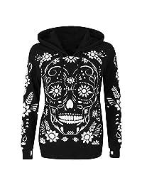 PLENTOP Women Plus Size Long Sleeve Skull Print Hooded Sweatshirt Pullover Blouse