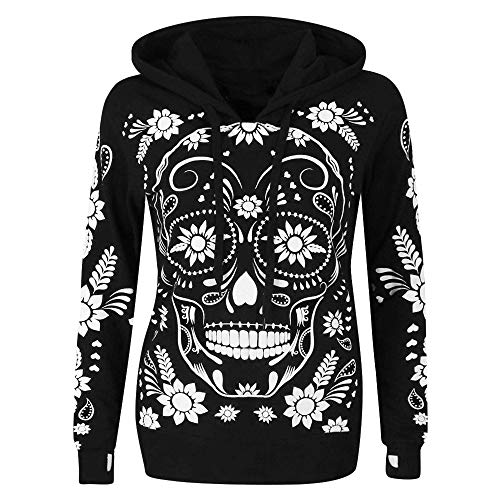 Beer Girl Bustier - Clearance Sale! Wintialy Women Plus Size Long Sleeve Skull Print Hooded Sweatshirt Pullover Blouse Tops