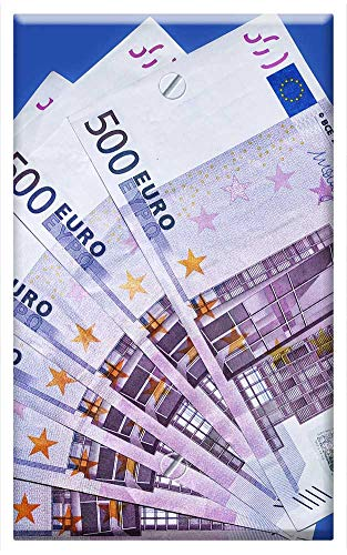 - Single-Gang Blank Wall Plate Cover - Euro Bank Note 500 Euro Currency Paper Money Money