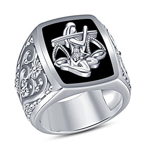 TVS-JEWELS Flower Design 925 Pure Sterling Silver Black Enamel Astrology Libra Zodiac Sign Men's Ring (7.5)