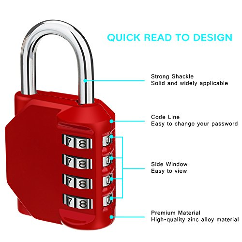 Combination Lock, 4 Digit Padlock, Gym Lock, School Lock, Locker Lock- Resettable Weatherproof Combination Lock Outdoor for Gates, Doors, Hasps, Storage